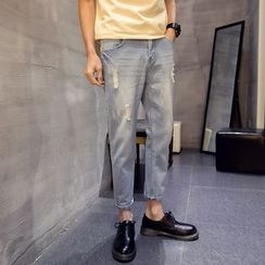 Flambeau - Distressed Tapered Jeans