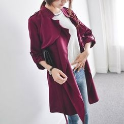JUSTONE - Wide-Lapel Trench Coat with Sash