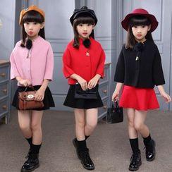 Pegasus - Kids Set: 3/4 Sleeve Pompom Coat + Mini A-Line Skirt