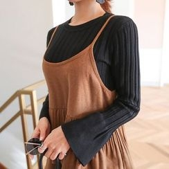 PPGIRL - Bell-Sleeve Ribbed Knit Top