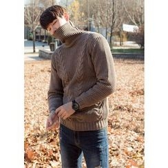 GERIO - Turtleneck Rib-Knit Sweater