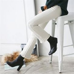 PEPER - Fringed-Hem Boot-Cut Pants