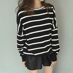 Bloombloom - Drop-Shoulder Striped T-Shirt
