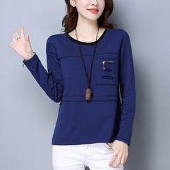 Labbara - Long-Sleeve Zip Panel T-Shirt