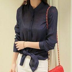 Q.C.T - Long-Sleeve Tie-waist Blouse