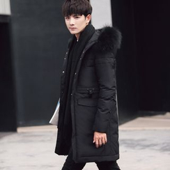 ZONZO - Furry Trim Hooded Long Down Coat