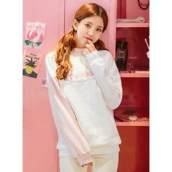icecream12 - Mock-Neck Color-Block Sweatshirt