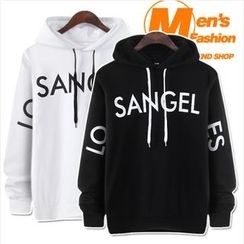 WIZIKOREA - Lettering Hooded Pullover