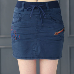DANI LOVE - Band-Waist Zip-Detail Skort
