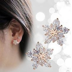 Nanazi Jewelry - 925 Sterling Silver Snowflake Earrings