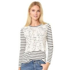 Lovebirds - Long-Sleeve Lace Striped T-Shirt