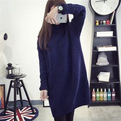 Pecora - Plain Mock Neck Sweater Dress