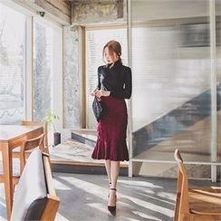 ERANZI - Ruffle-Hem Knit Midi Skirt