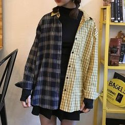 Miss Kekeli - Plaid Long-Sleeve Blouse