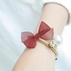 soo n soo - Faux Pearl Chiffon Metal Bracelet
