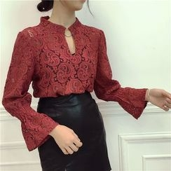 Octavia - Cut Out Front Long Sleeve Lace Top