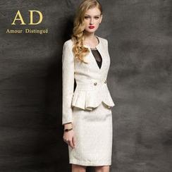 Aision - Jacquard Ruffle Blazer / Pencil Skirt