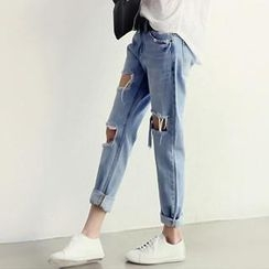 NANING9 - Washed Distressed Blue Jeans