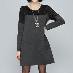 Rocho - Long-Sleeve Laser Cut Dress