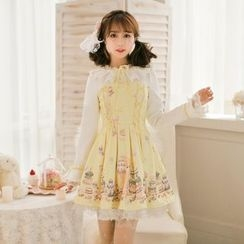 Candy Rain - Long-Sleeve Printed Pleated Dress