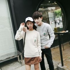 Simpair - Couple Matching Cactus Embroidered Sweater