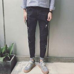 JUN.LEE - Ripped Slim Fit Jeans
