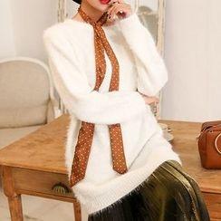 PPGIRL - Cutout-Back Furry-Knit Top