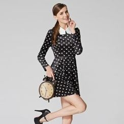 O.SA - Contrast-Collar Swan-Print Dress