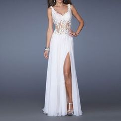 Bridal Workshop - Strappy Backless Lace Evening Gown