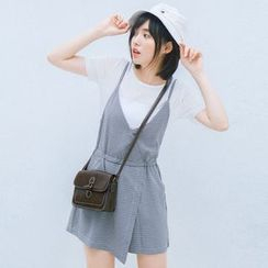 Bonbon - Set : Short-Sleeve T-shirt + Spaghetti Strap Short Dungaree