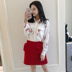 Meteor - Set: Printed Chiffon Shirt + A-Line Skirt