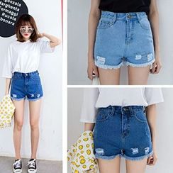 Ashlee - Distressed High-Waist Denim Shorts
