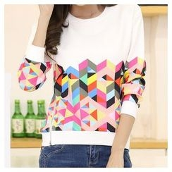Zyote - Geometric Print Long-Sleeve T-Shirt