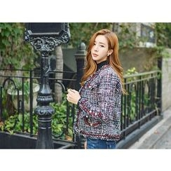 UUZONE - Fringed Tweed Jacket