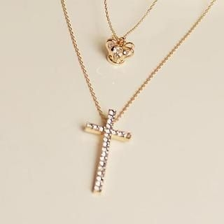 Love Generation - Rhinestone Cross Layered Necklace