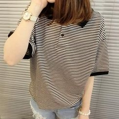 QZ Lady - Contrast-Trim Striped Polo Shirt