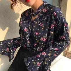 Cloud Nine - Floral Print Halter V-neck Blouse