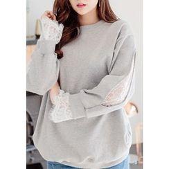REDOPIN - Lace-Trim Cotton Pullover