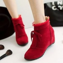 Shoes Galore - Frill Trim Hidden Wedge Ankle Boots