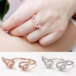 Ticoo - Wing Motif Rhinestone Studded Open Ring