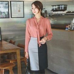 ode' - Slit-Hem Color-Block Skirt