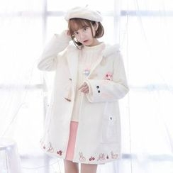 Moriville - Rabbit Embroidered Hooded Long Coat