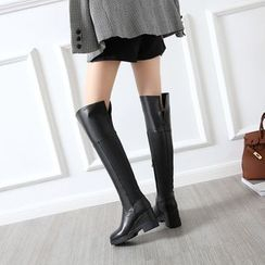 JY Shoes - Chunky Heel Wedge Over-the-Knee Boots