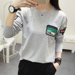 SimplyMe - Long-Sleeve Applique T-Shirt