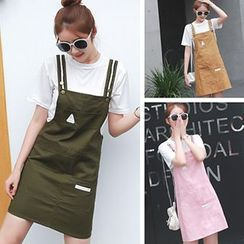 Glen Glam - Set: Short Sleeve T-Shirt + Pinafore Dress