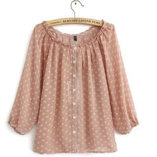 JVL - Long-Sleeve Frilled-Neck Dotted Blouse