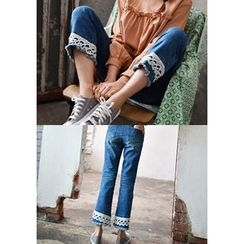 GOROKE - Lace-Hem Washed Straight-Cut Jeans