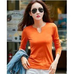 Yinaike - Plain Split Neck Long Sleeve T-Shirt