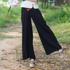 Diosa - Embroidered Wide-Leg Pants