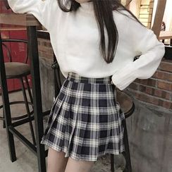 Anlay - High-Waist Check Pleated A-Line Skirt